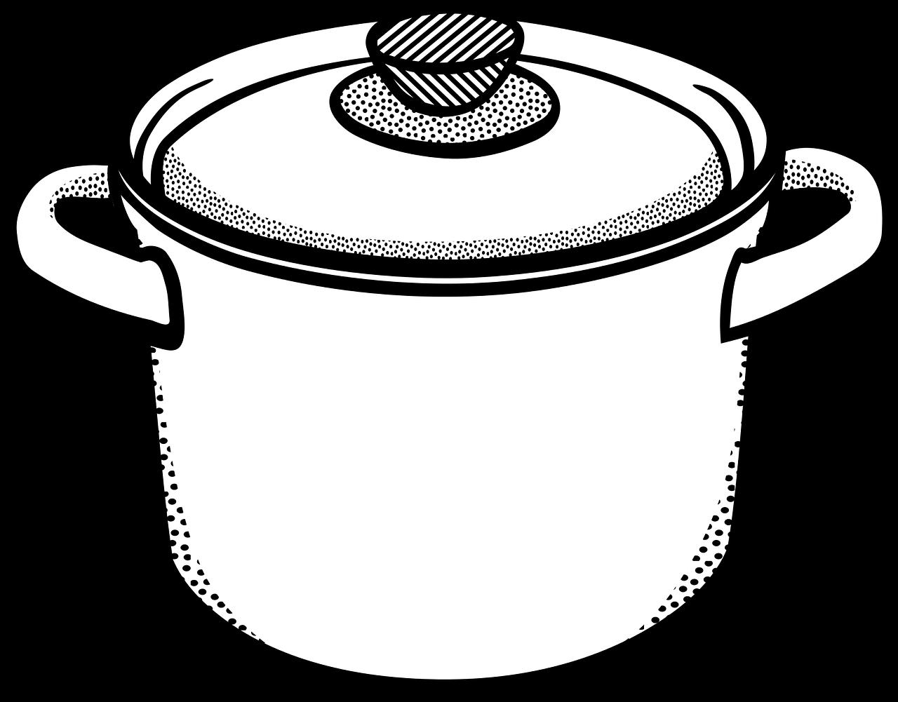 Kochtopf Symbol schwarz-weiß
