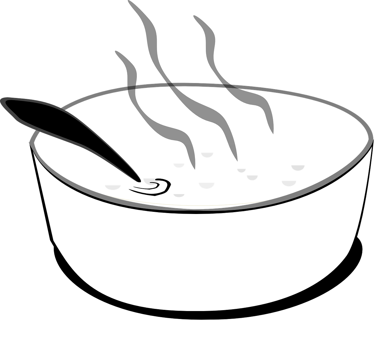 Flüssigkeit wird umgerührt. Symbol in schwarz-weiß