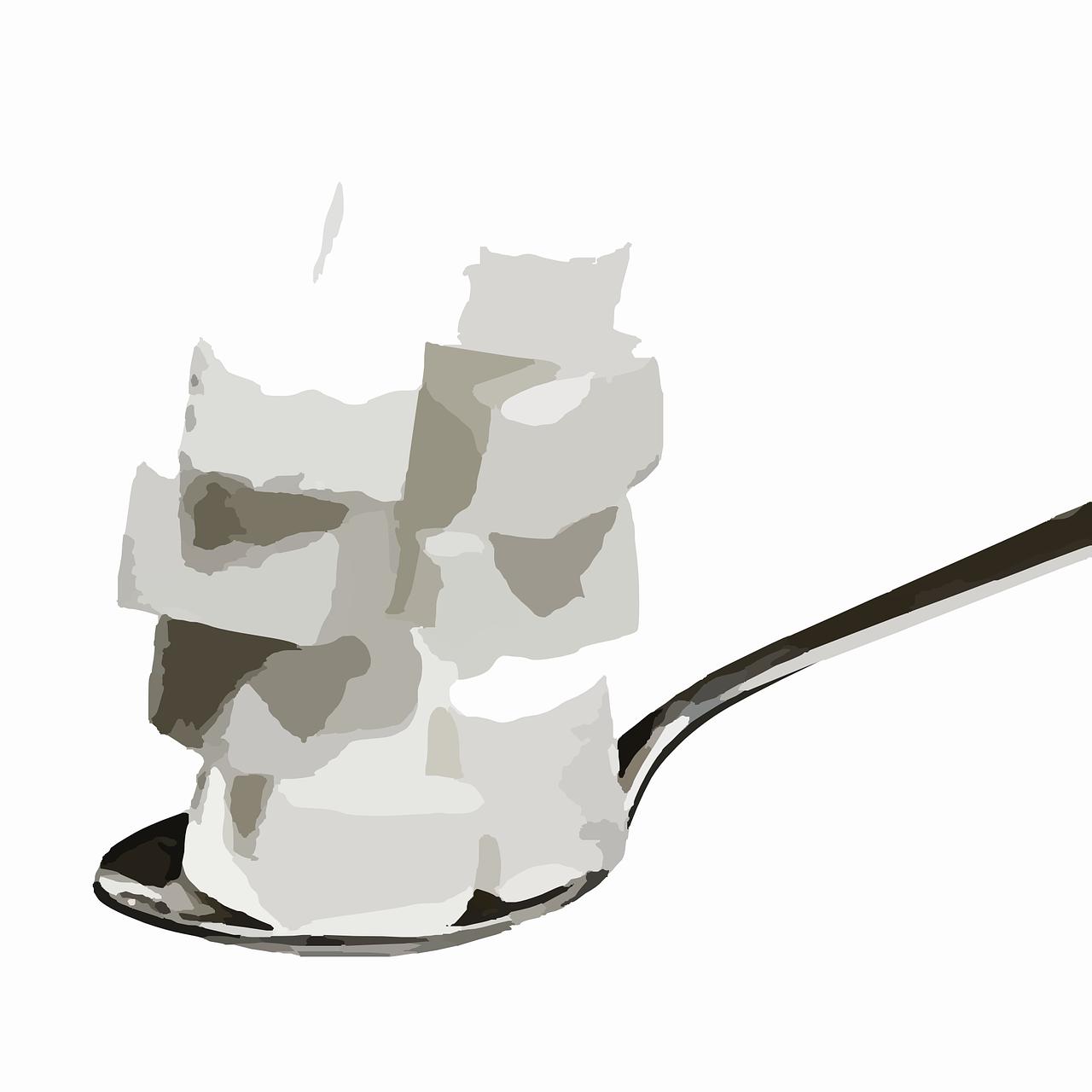 Löffel mit Zuckerstückchen zum Abschmecken und nachzuckern.