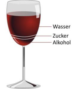 Weinglas mit Markierungen, wie viel Wasser, Zucker und Alkohol in Wein enthalten ist